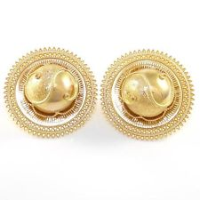 Large Hat Yellow Gold Earrings